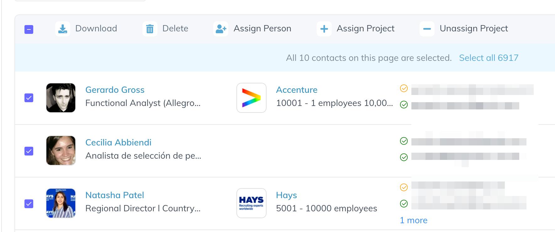 bulk actions salesql dashboard
