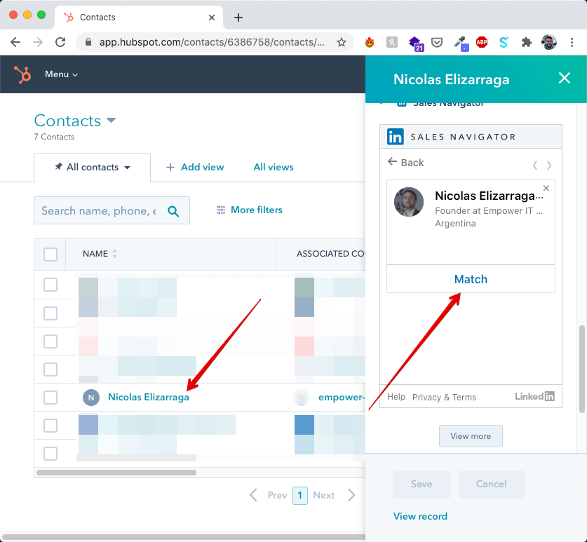 Matching Hubspot contact with LinkedIn
