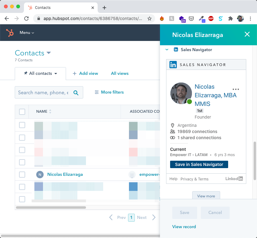 Hubspot contact already matched with LinkedIn