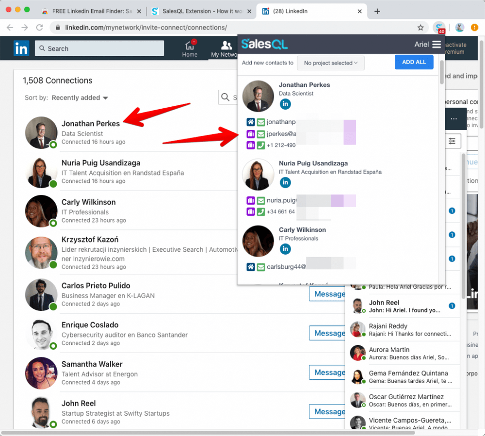 Emails and phones from LinkedIn contacts