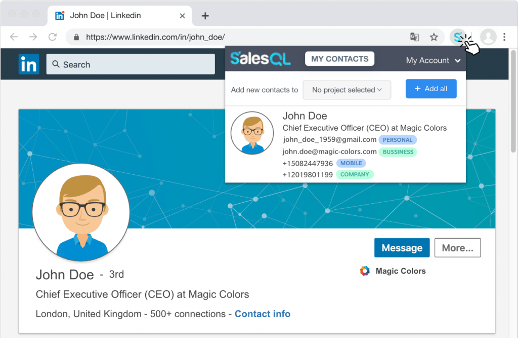 SalesQL extract profiles and search for emails