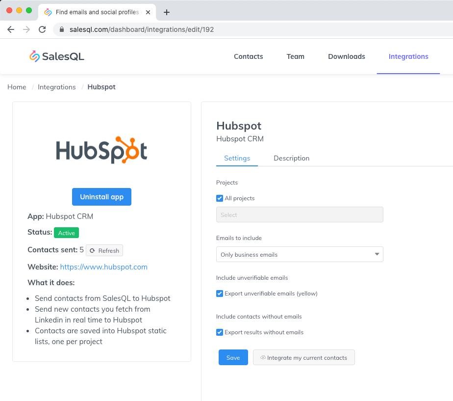Hubspot native integration from SalesQL