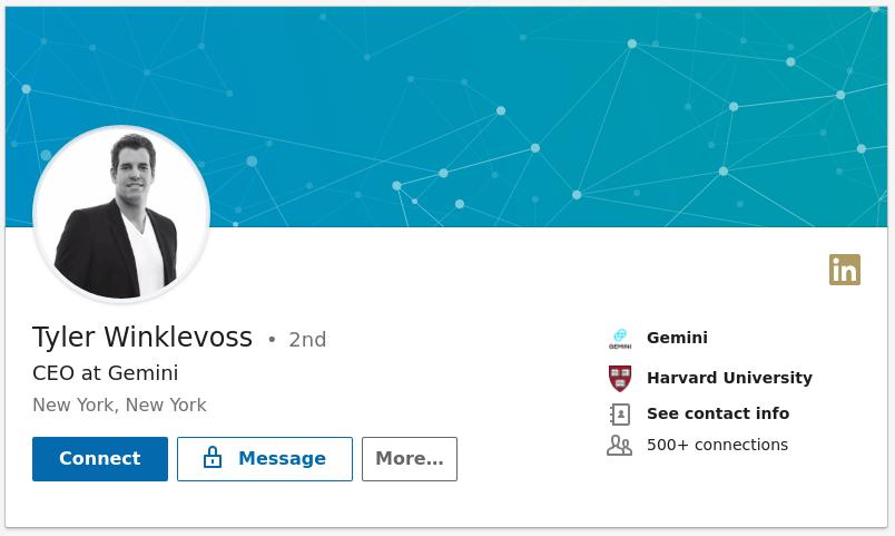 Tyler Winklevoss Linkedin