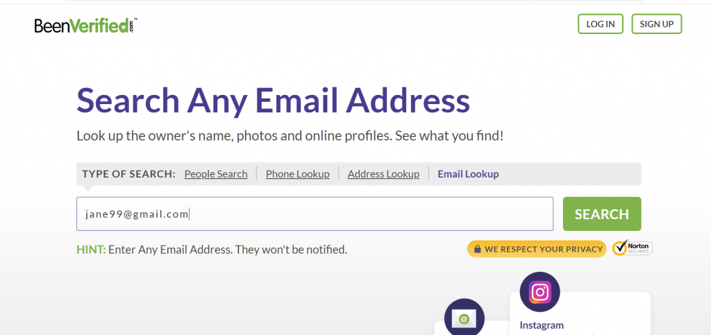 search any email address