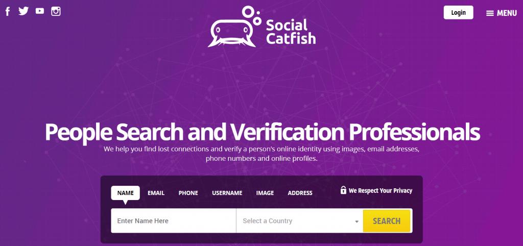 social catfish homepage screenshot