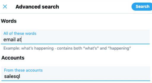 Twitter's advanced search