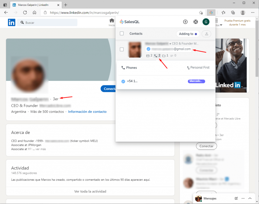 Adding the first contact from LinkedIn to SalesQL