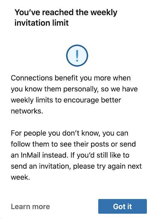 Current LinkedIn connection request limitations